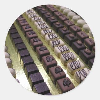 Chocolate assortments round sticker