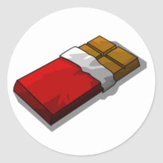 Chocolate Bar in Red Wrapper Classic Round Sticker