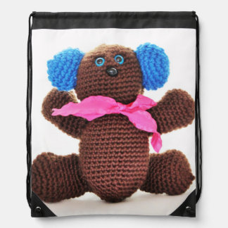 Chocolate Bear Drawstring Backpack