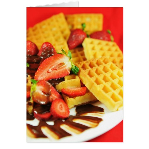 Chocolate Belgian waffle and strawberries Greeting Cards