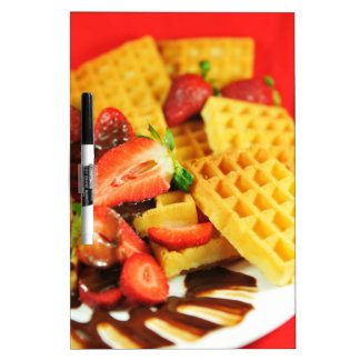 Chocolate Belgian waffle and strawberries Dry Erase White Board