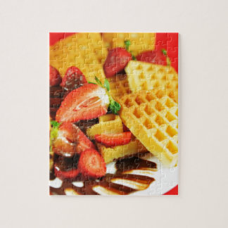 Chocolate Belgian waffle and strawberries Jigsaw Puzzle