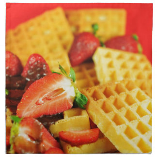 Chocolate Belgian waffle and strawberries Napkin