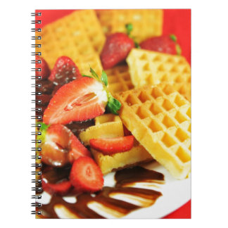 Chocolate Belgian waffle and strawberries Notebooks