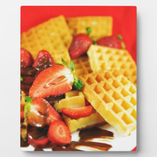 Chocolate Belgian waffle and strawberries Plaque