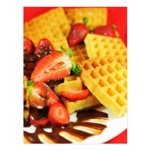 Chocolate Belgian waffle and strawberries Post Card