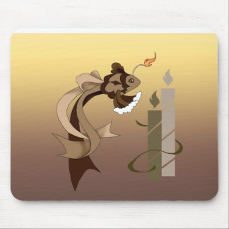 Chocolate Birthday Cake Fish and Candles Mousepad