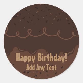 Chocolate Birthday Cake Frosting Classic Round Sticker
