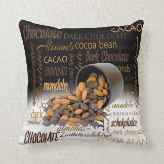 Chocolate Bits and Almonds Close Up Photograph Cushion