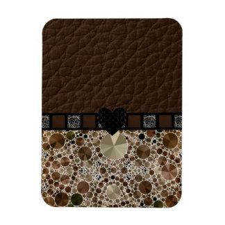 Chocolate Bling Leopard Heart Rectangular Photo Magnet