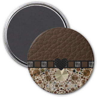 Chocolate Bling Leopard Heart 7.5 Cm Round Magnet