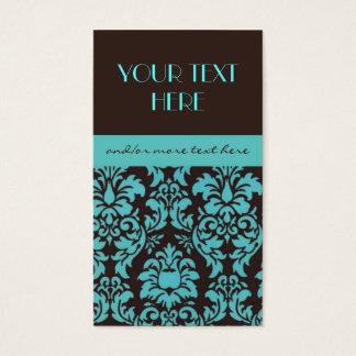 Chocolate&Blue Damask Business Card