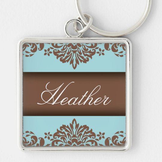 Chocolate & Blue Damask Keychain