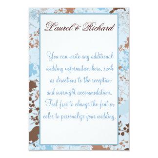 Chocolate & Blue Floral Wedding Reception 9 Cm X 13 Cm Invitation Card