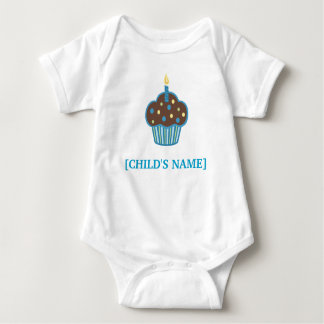 Chocolate Brown and Blue Birthday Cupcake Shirt