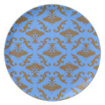 Chocolate Brown and Blue Damask Dinner Plates