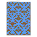 Chocolate Brown and Blue Damask Greeting Cards