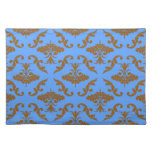 Chocolate Brown and Blue Damask Placemats