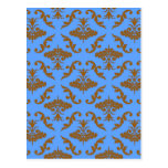 Chocolate Brown and Blue Damask Post Cards
