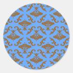 Chocolate Brown and Blue Damask Round Sticker