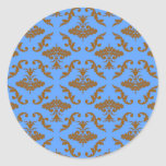 Chocolate Brown and Blue Damask Classic Round Sticker