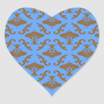 Chocolate Brown and Blue Damask Stickers