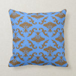 Chocolate Brown and Blue Damask Throw Pillows