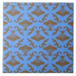 Chocolate Brown and Blue Damask Tile