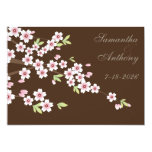 Chocolate Brown and Cherry Blossom Wedding Personalised Invitation