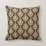 Chocolate Brown and Cream Damask Throw Pillow