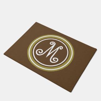Chocolate Brown and Olive Green Monogram Doormat