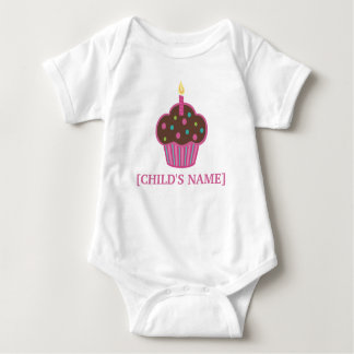 Chocolate Brown and Pink Birthday Cupcake Shirt