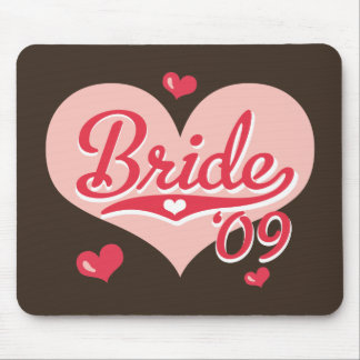Chocolate Brown and Pink Heart Bride 09 Mousepad