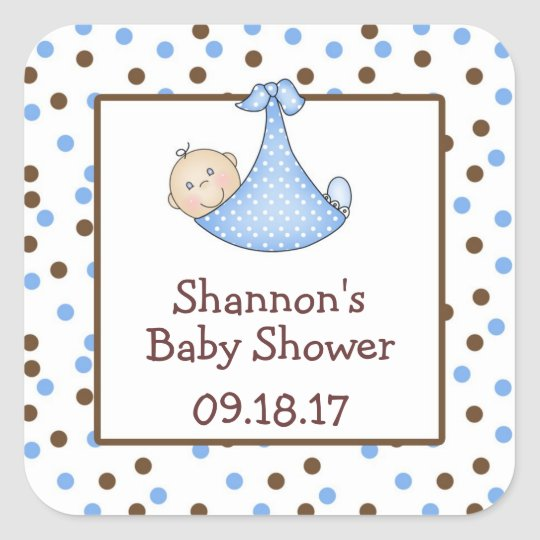 Chocolate Brown Blue Dot Baby Shower Favour Square Sticker
