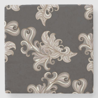 Chocolate Brown Damask Marble Coaster