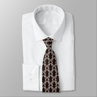 Chocolate Brown Damask Men's Tie