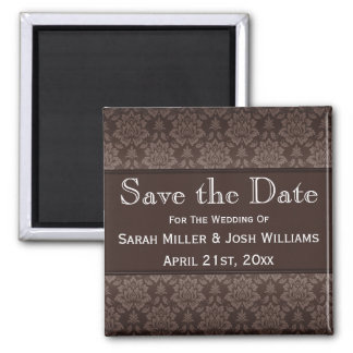 Chocolate Brown Damask Save the Date Magnet