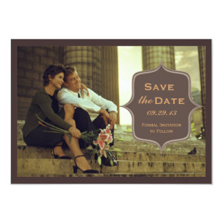 Chocolate Brown Elegant Photo Save the Date 11 Cm X 16 Cm Invitation Card