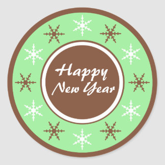 Chocolate Brown & Green Happy New Year Stickers