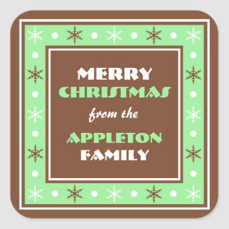 Chocolate Brown & Green Holiday Envelope Seals Square Sticker