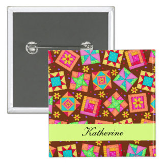 Chocolate Brown Green Patchwork Quilt Name Badge
