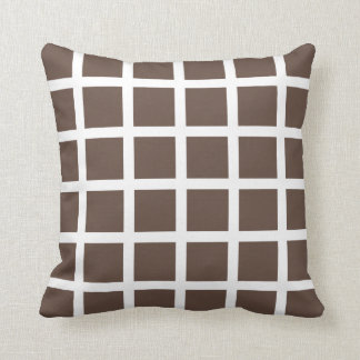 Chocolate Brown Grid Pattern Throw Pillow