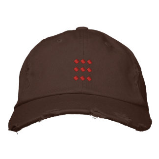 Chocolate Brown Hat With Red Dots Square Embroidered Cap