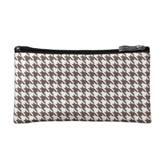 Chocolate Brown Houndstooth Cosmetic Bag
