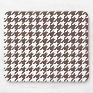 Chocolate Brown Houndstooth Mouse Mat