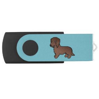 Chocolate Brown Long Coat Dachshund Cartoon Dog Swivel USB 2.0 Flash Drive