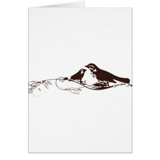 Chocolate Brown Lovebirds-Wedding Save the Date Greeting Card