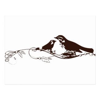 Chocolate Brown Lovebirds-Wedding Save the Date Postcard