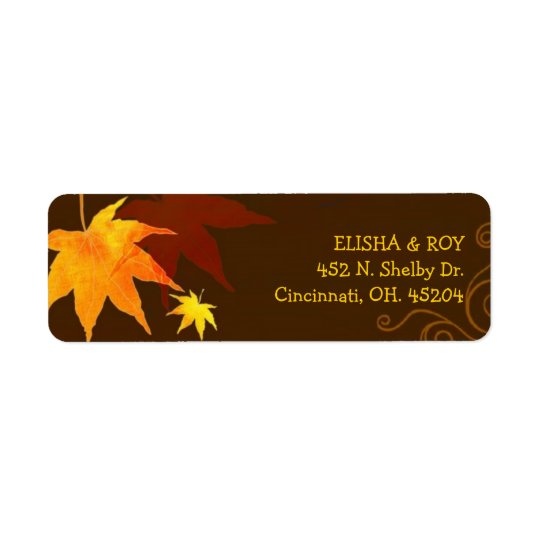 Chocolate Brown Maple Leaf Wedding Return Address Label