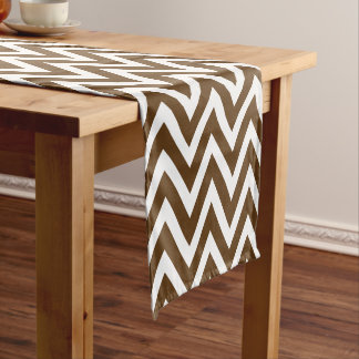 Chocolate Brown Modern Chevron Stripes Short Table Runner